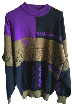 Vintage Purple Tan Baggy 80's Sweater from OSSI Skiwear Wool Mix size large extremely soft knit geometric color block design mens womens rad by VELVETMETALVINTAGE on Etsy