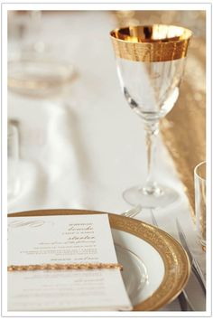 Glittery Gold Modern Table Setting