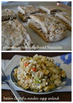 Whole Wheat Rosemary Biscuits and Nada-Egg Salad (made w/ garbanzo beans and tofu).