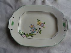 Your place to buy and sell all things handmade Vintage Kitchen Decor, Green Accents, Downton Abbey, Vintage China, China Porcelain, Serving Platters, Dinnerware, Tray, English