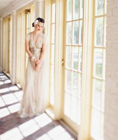 Gorgeous BHLDN Weddings dress styled with inspiration from the upcoming The Great Gatsby movie.