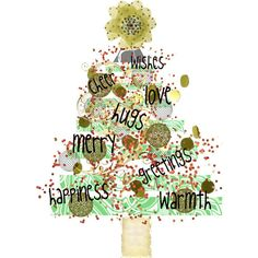 Christmas  Wishes Tree Digital Art Collage Card by HemeonArtworks, $7.00