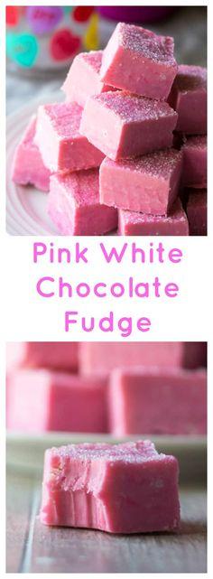 Fudge Recipes, Candy Recipes, Dessert Recipes, Frosting Recipes, Easy Desserts, Delicious Desserts, Pink Desserts, Chocolates, White Chocolate Fudge