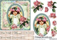 Vintage girl with roses on Craftsuprint designed by Bodil Lundahl - Here's a square image with an oval, pearl framed vintage picture of a beautiful little girl vith a rose wreath on her head. Only two lovely decoupage vintage roses in one corner are decorating the picture, which leaves the final finish up to the crafters creativity. Six tags are included. - Now available for download!