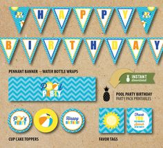 $15 (invite additional $15)  Pool Party Birthday Party Pack Printables - Instant Download