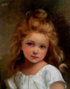 Ebay cherub portrait oil painting by Barnes