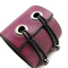 Eggplant Wristband Leather Cuff Bracelet with Double Black Adjustable Rubber Bands via Etsy.