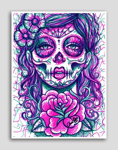 Hey, diesen tollen Etsy-Artikel fand ich bei https://www.etsy.com/de/listing/193416156/tag-tot-sugar-skull-girl-bunte-pop-art