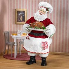 Holiday Meal Chef Santa Holding Plate of Turkey, Kurt S. Adler Fabriche Cooking and Baking Collection of Santas Father Christmas, Vintage Christmas, Christmas Holidays, Merry Christmas, Gingerbread Decorations, Santa Decorations, Vintage Santa Claus, Vintage Santas, Christmas Figurines