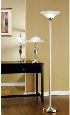 Three-Piece Torchiere and Table Lamps Set with Hammer Glass Shades #lamp