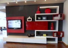 Red Small Modern Living Rooms With TV