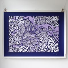 Intricate typographic map of Amsterdam naming grachten and neighbourhoods including De Wallen, Jordaan, Amstel, Plantage, Oud-Zuid, Muesum Kwatier, de Pijp, Watergraafsmeer, Amsterdamse Bos in the South, West Poort, Buikslootermeer in the North and Ijburg in the East. Details Hand pulled screen print Limited colour edition of 100 (night blue/violet) Signed and numbered by the artist Format: 56 cm x 76 cm