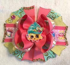 Shopkins Hair Bow/Cupcake Queen Hair Bow/Cupcake Queen Shopkins Inspired Bow/Girly Curl Bow/Gold Blue Pink Girls Hair Bow/Cupcake Party Bow