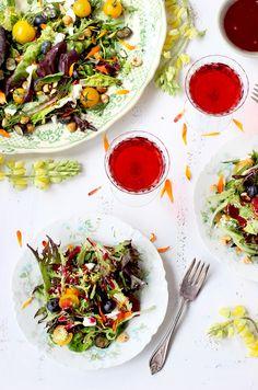Fresh Herb and Edible Flower Salad with Hibiscus Champagne Vinaigrette - CaliZona