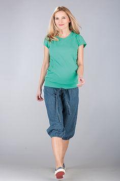 Bavlněné tříčtvrteční kalhoty pro těhotné modré barvy Keds, Bermuda Shorts, Women, Fashion, Moda, Fashion Styles, Fashion Illustrations, Shorts