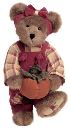 This is a Boyd's bear, but I don't have her name.  I have her too (Leola) and her name is Penelope P. Punkinbeary.