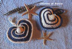 """Cœurs au crochet """"style marin"""" remplis de lavande"""