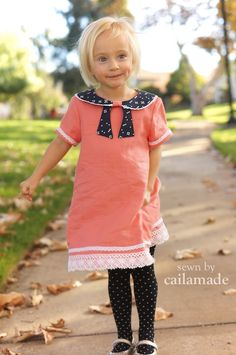 Coral and Navy Nora Dress // sewn by CailaMade // pattern by Welcome to the Mouse House