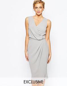 Closet | Closet Wrap Front Knee Length Midi Pencil Dress at ASOS