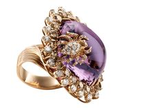 Wempe - spider ring 18 carat red gold with cabochon amethyst one, brilliant 2.02 ct. G-VS and shiny brown 5.33 ct
