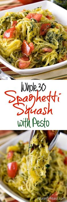 Whole30 Spaghetti Squash with Pesto - A Family Feast. Serve with protein of choice and a side salad to make this a meal.
