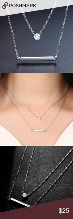 """Double Layer Bar Necklace Beautiful double layer bar necklace, silver plated with cubic Zirconia. 18"""" with a 2"""" extender. Brand new in package. Price firm unless bundled Jewelry Necklaces"""