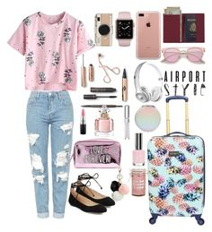 """""""Airport Style"""" by aminadj ❤ liked on Polyvore featuring Topshop, Karl Lagerfeld, GUESS, Royce Leather, Belkin, Chantecaille, Guerlain, Torrid and Kate Spade"""