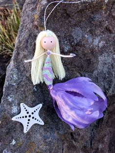 Your place to buy and sell all things handmade Little Mermaid Doll, Little Mermaid Parties, Mermaid Dolls, Mermaid Crafts, Unicorn Crafts, Mermaid Ornament, Under The Sea Theme, Unicorns And Mermaids, Flower Fairies