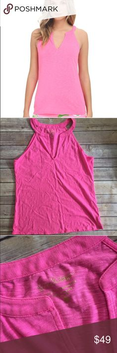 Lilly Pulitzer Large L Pink Arya tank top shirt Excellent like new condition, Hottie Pink sleeveless Arya top. No trades. Lilly Pulitzer Tops Tank Tops