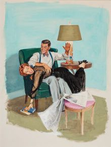 Original Illustration, Dick Williams (RICHARD F. WILLIAMS) (American painter and illustrator, 1908-1981). Storyillustration. Gouache on illustration board.