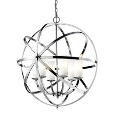 Z-Lite Aranya Chrome Pendant Light Modern/Contemporary White Glass Pendant Light at Lowe's. Orbiting metal bands circle the contemporary inner chandelier. This family is made up of round and oval shapes finished in Chrome finishes complimented Globe Pendant Light, Globe Chandelier, Pendant Light Fixtures, Pendant Lighting, Chandeliers, Bathroom Chandelier, Foyer Lighting, Lantern Pendant, Home Design
