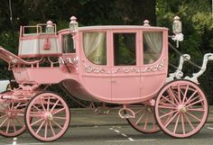 Love this shabby chic pink carriage!!