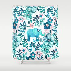 Dusty Pink, White and Teal Elephant and Floral Watercolor Pattern Shower Curtain by Micklyn | Society6