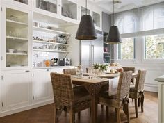 White and grey kitchen, refined rustic kitchen table, urban kitchen, staineless accents, old metal pendants, el mueble