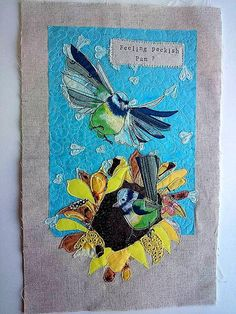 Blue tit on sunflower embroidery flying blue by LilCritterDesigns