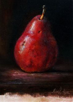 Red Pear Still Life Original Oil Painting by Nina R.Aide: