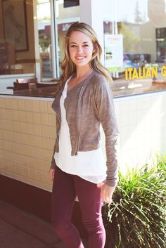 maroon jeans & light weight jacket. perfect for fall