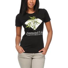 The Diamond Supply Co. Homegrown tee shirt for girls in the all black color way is here to add some flavor to your summer wardrobe.