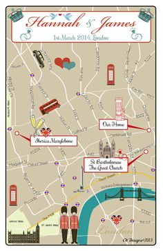 London Traditional Wedding Map  By cwdesigns2010, $270.00 cws-designs.com
