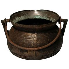 17th Century Bronze Cooking Pot | From a unique collection of antique and modern bronzes at http://www.1stdibs.com/furniture/more-furniture-collectibles/bronzes/