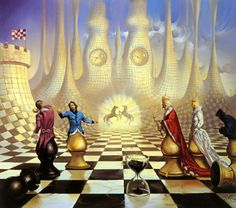 Vladimir Kush 1965 | Russian painter | The Surreal Landscapes--- Love vs Logic in a game for power, but time is almost up.  Theme: Reality of the Inevitable Concept: A Surreal Stratagem -- inconclusive dreams