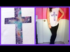 DIY Galaxy Cross Shirt Good video tutorial on galaxy painting. Next project in my galaxy painting series :) Vbs Crafts, Crafts For Teens, Crafts To Make, Diy Tumblr, Diy Galaxie, Diy Projects To Try, Sewing Projects, Galaxy Cross, Cross Shirts