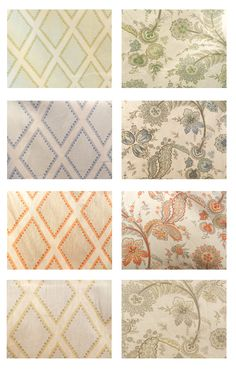 Kravet: Sarah Richardson Fabric Collection (left column: Brookhaven pattern in Celadon, Chambray, Coral and Opal/right column: Cottingham pattern in Meadow, Ocean, Coral and Opal)