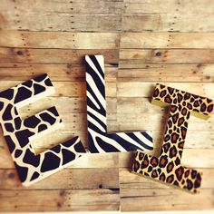 Glitter dipped Letters animal print letters self standing letters cheetah letters giraffe letters zebra letters safari letters african decor by Ajobebe on Etsy