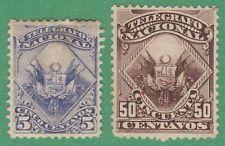 Perú Telegraph Sellos Descalzo # 1 # 3 Sin Usar 5c Con 1876 Cv $11