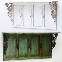 Wood Wall Shelf with Iron Scroll Brackets & Three Coat Hooks... Great for an entryway! Available in Distressed White or Distressed Blue. For more Home Decor with Function visit http://insideoutcatalog.com/Sections/Indoors/I-Decor-Function-1.htm.