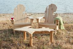Michigan Adirondack Chair Set with Upper Peninsula Coffee/Side Table by MichiganStudio on Etsy https://www.etsy.com/listing/225487641/michigan-adirondack-chair-set-with-upper