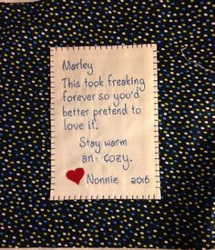 Quilt label for my g