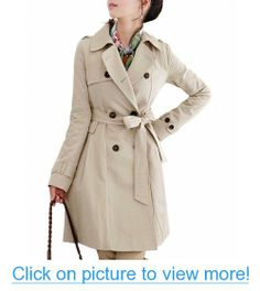 DJT Women's Elegant Long Trench Coat with Belt #DJT #Womens #Elegant #Long #Trench #Coat #Belt