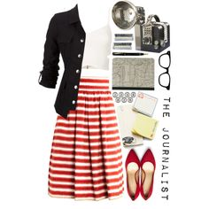 cute outfit.. love the striped skirt and the jacket complements the whole outfit